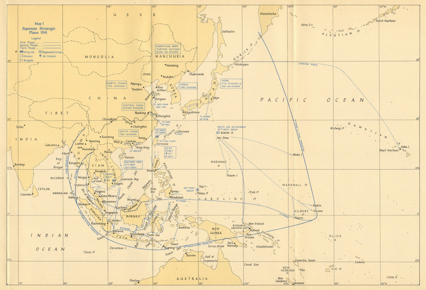 Associate Product Japanese strategic plans 1941. Pacific & South east Asia. Indochina 1957 map