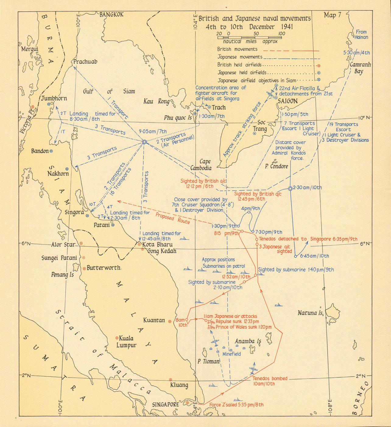 Associate Product Naval Battle of Malaya 4-10 December 1941. British & Japanese movements 1957 map