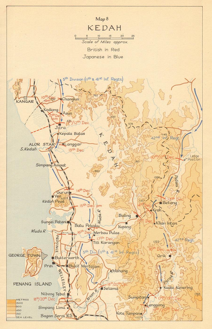 Associate Product Kedah. Japanese invasion of Malaya. December 1941 1957 old vintage map chart