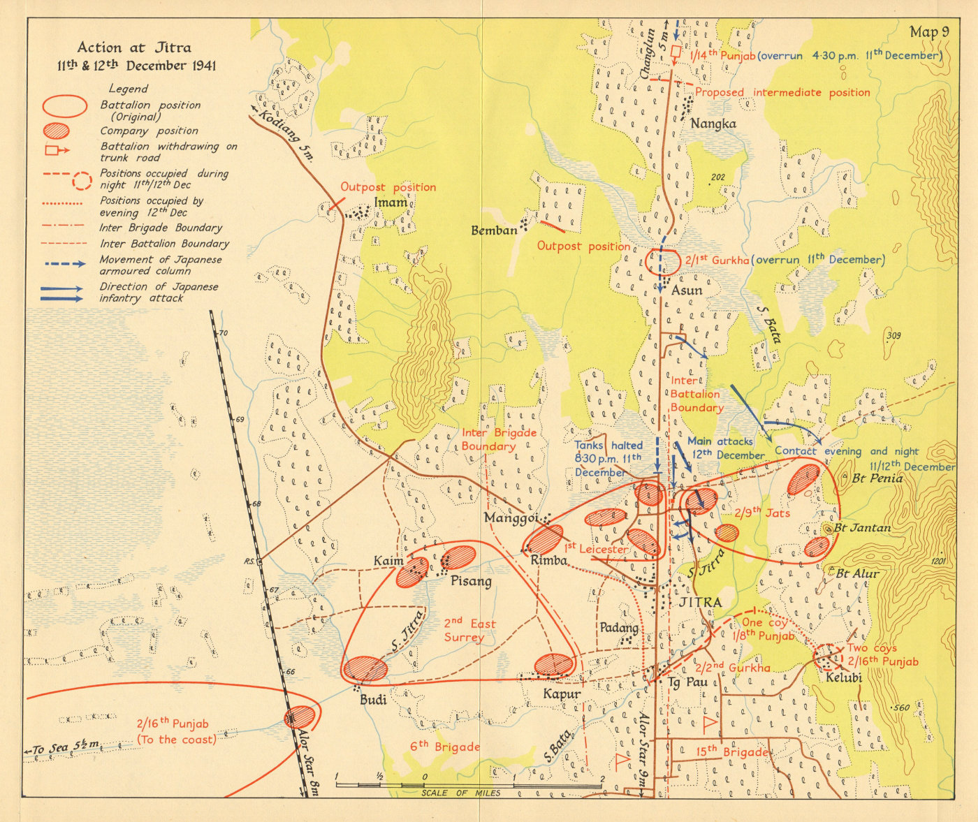 Associate Product Battle of Jitra, 11-12 December 1941. Japanese invasion of Malaya 1957 old map
