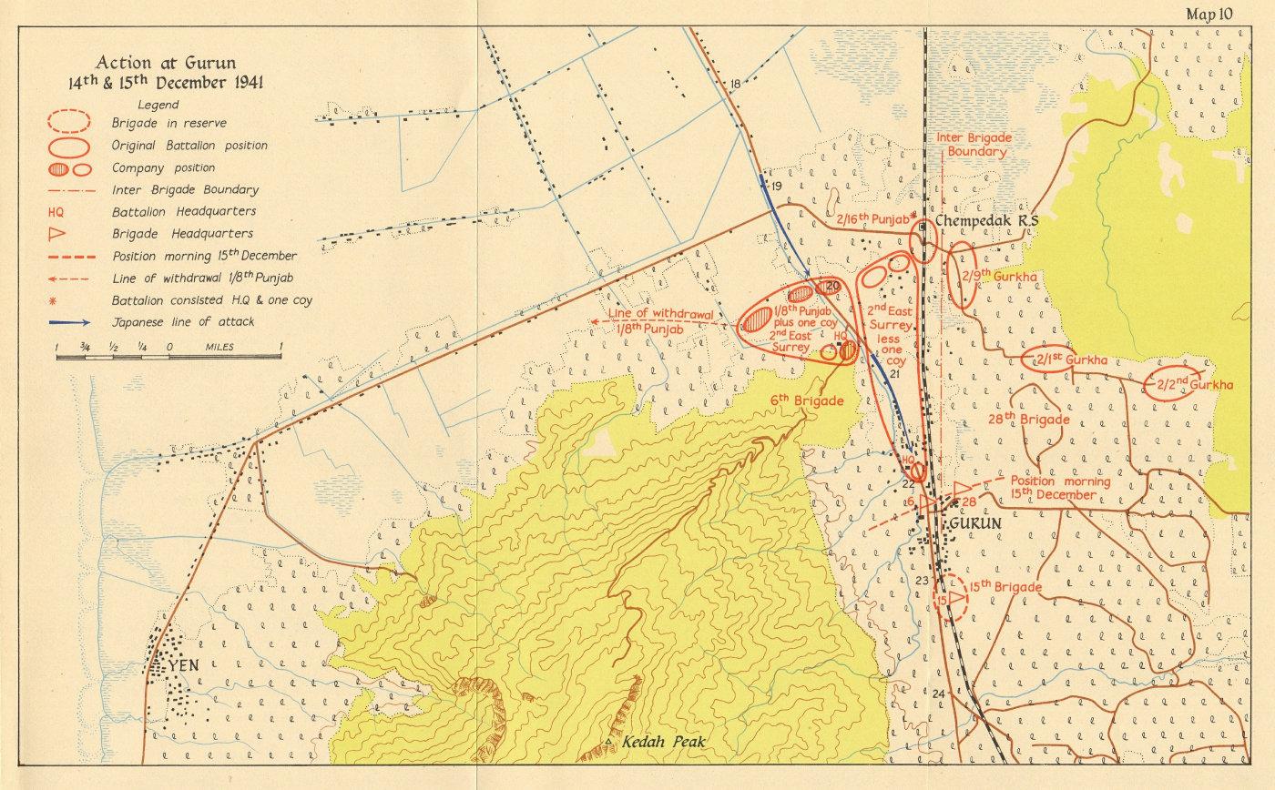 Associate Product Battle of Gurun, 14-15 December 1941. Japanese invasion of Malaya 1957 old map