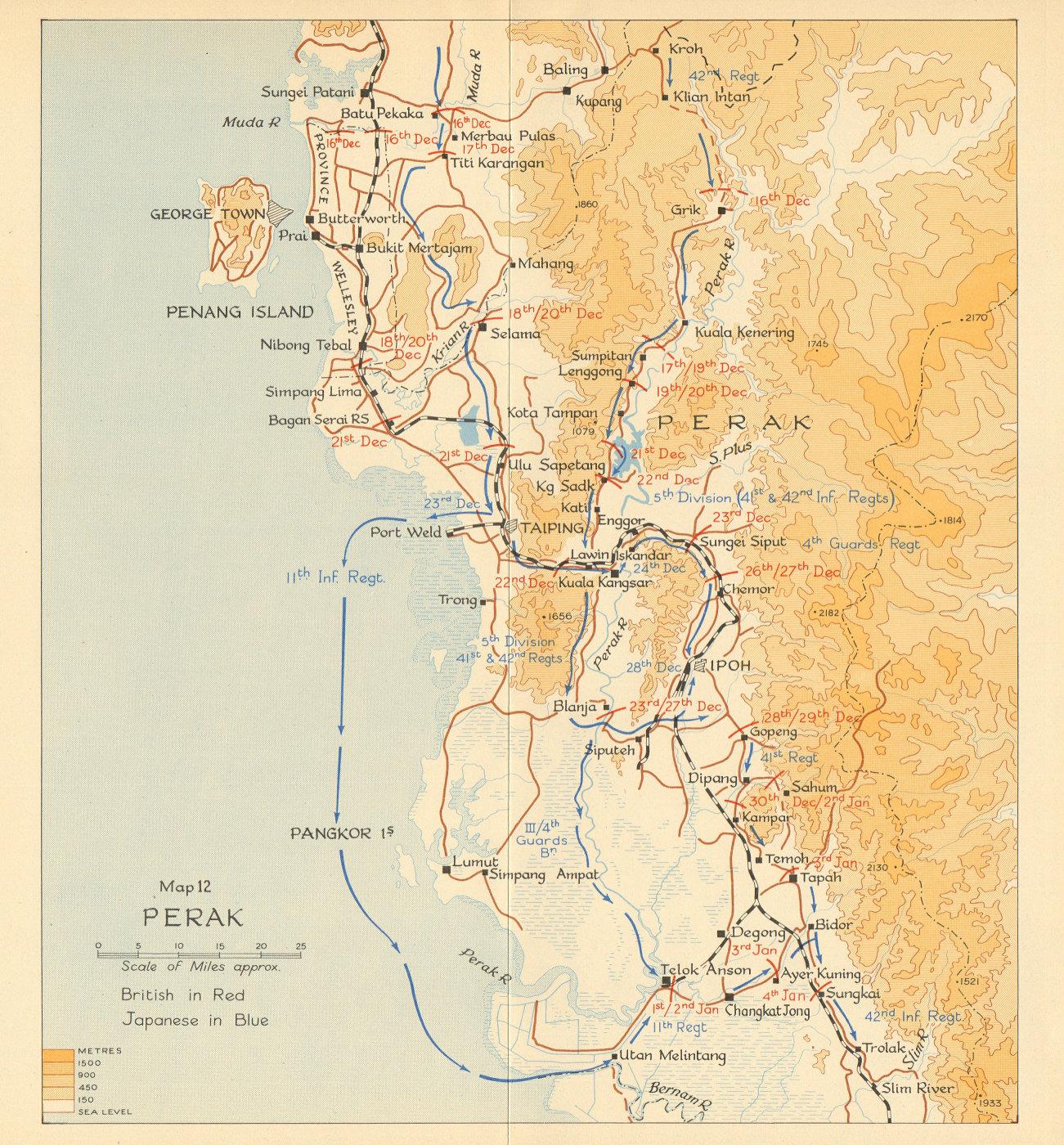 Associate Product Perak. Japanese invasion of Malaya 1941. Malaysia 1957 old vintage map chart