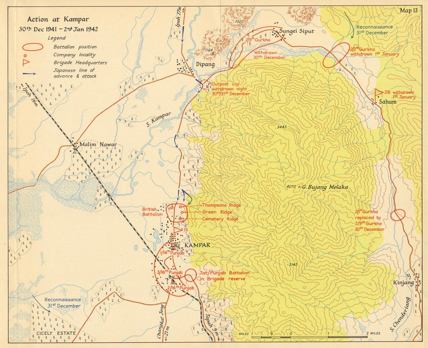 Associate Product Battle of Kampar, 30 Dec 1941-2 Jan 1942. Japanese invasion of Malaya 1957 map