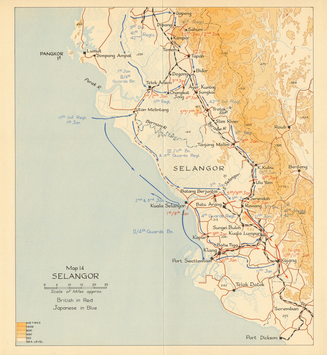 Associate Product Selangor. Japanese invasion of Malaya 1942. Malaysia 1957 old vintage map