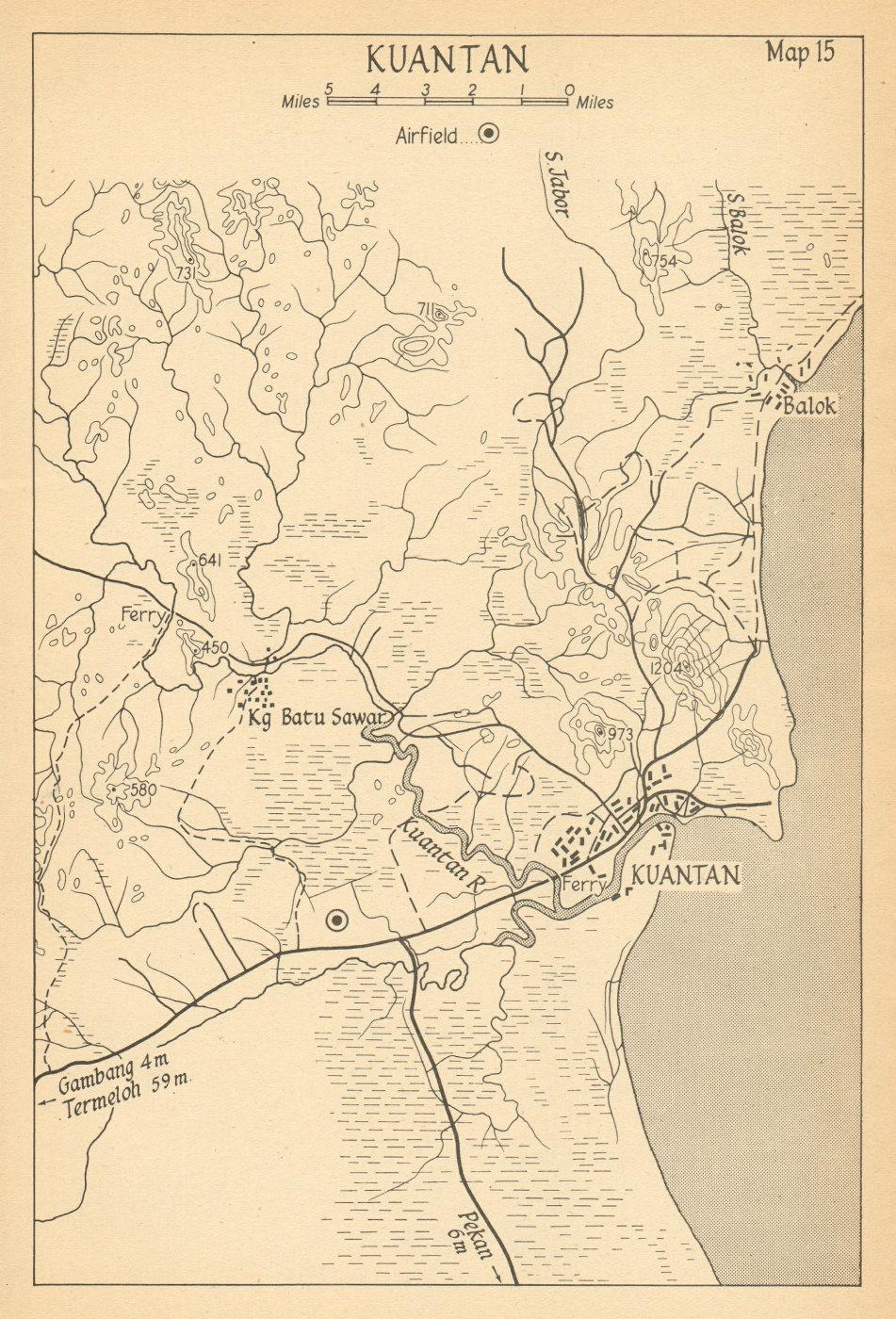 Associate Product Kuantan 1942. Malaya. Malaysia 1957 old vintage map plan chart