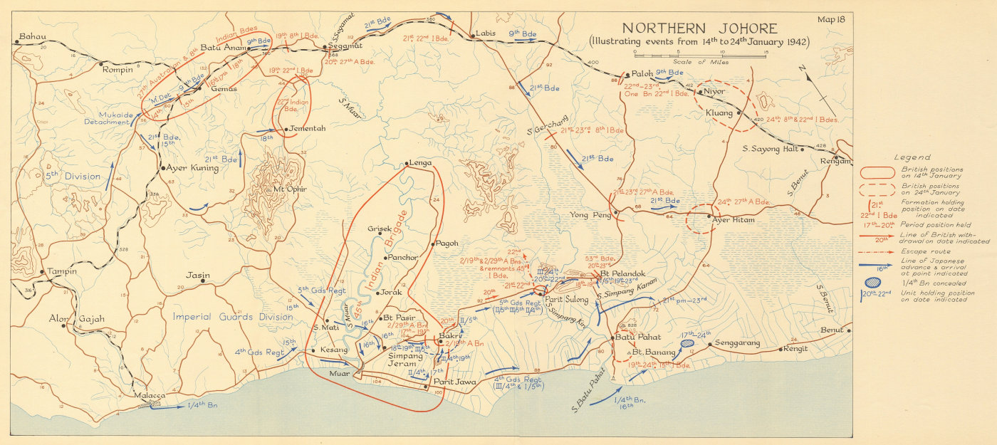 Northern Johore. Japanese invasion of Malaya. 14th to 24th January 1942 1957 map