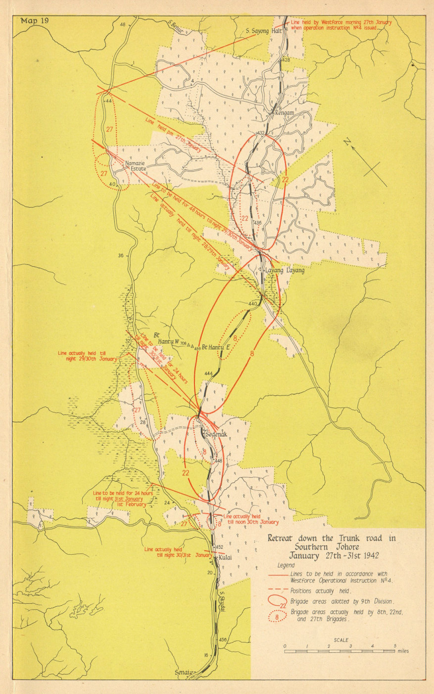 Associate Product Japanese invasion of Malaya. Retreat in southern Johore, 27-31 Jan 1942 1957 map