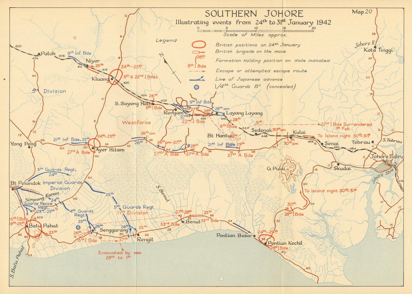 Associate Product Southern Johore. Japanese invasion of Malaya. 24th-31st January 1942 1957 map