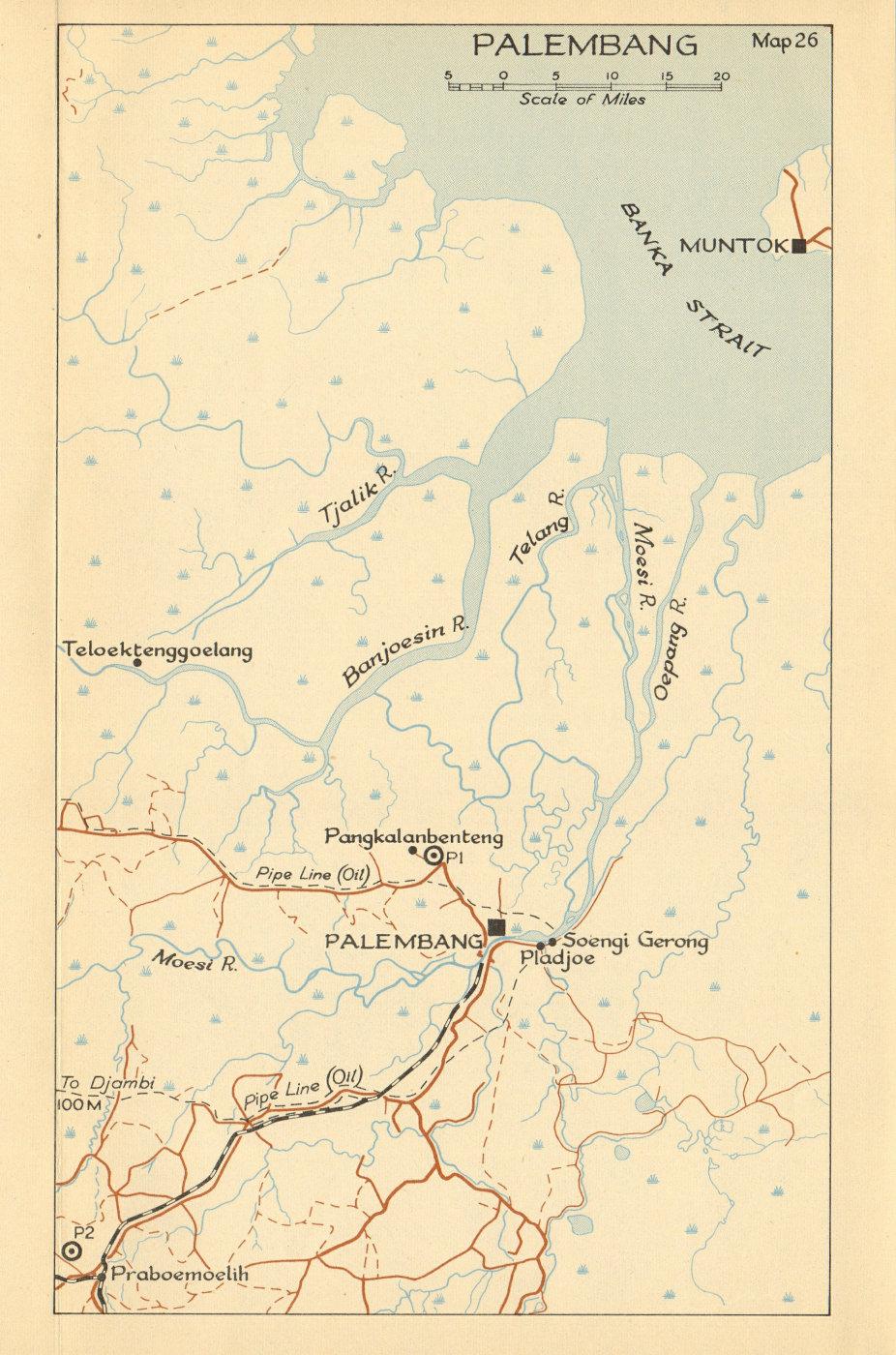 Associate Product Palembang, Sumatra 1942 1957 old vintage map plan chart