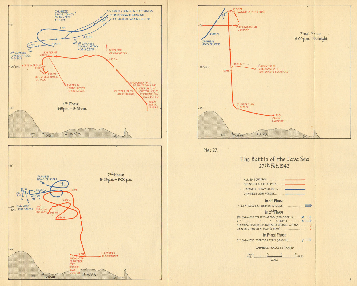 Associate Product Battle of the Java Sea, 27th February 1942. Allied Japanese movements 1957 map