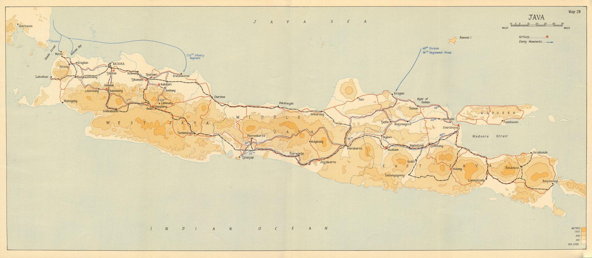 Associate Product Japanese invasion of Java 28 February-12 March 1942. Dutch East Indies 1957 map