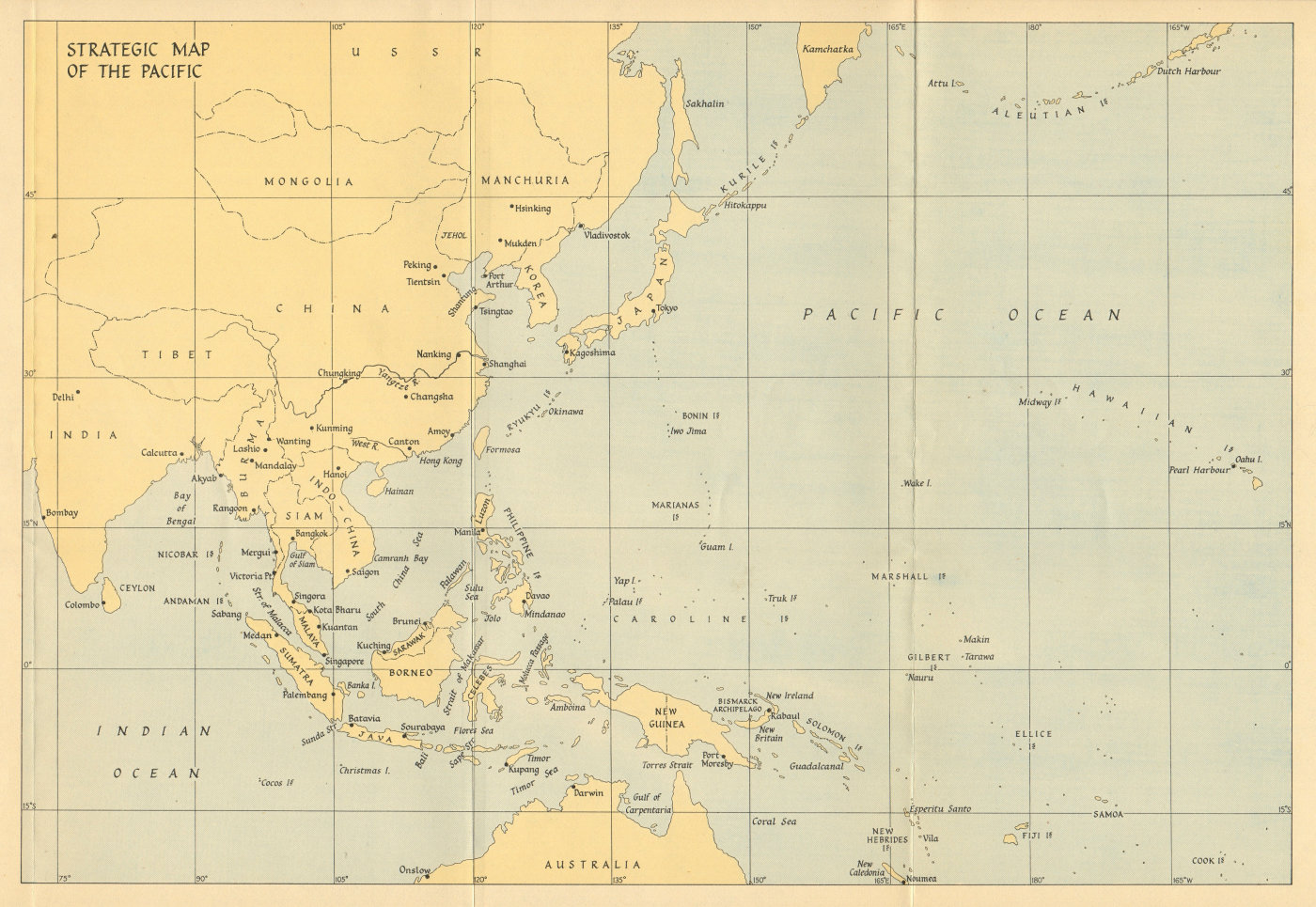 Associate Product Strategic map of the Pacific 1941 1957 old vintage plan chart