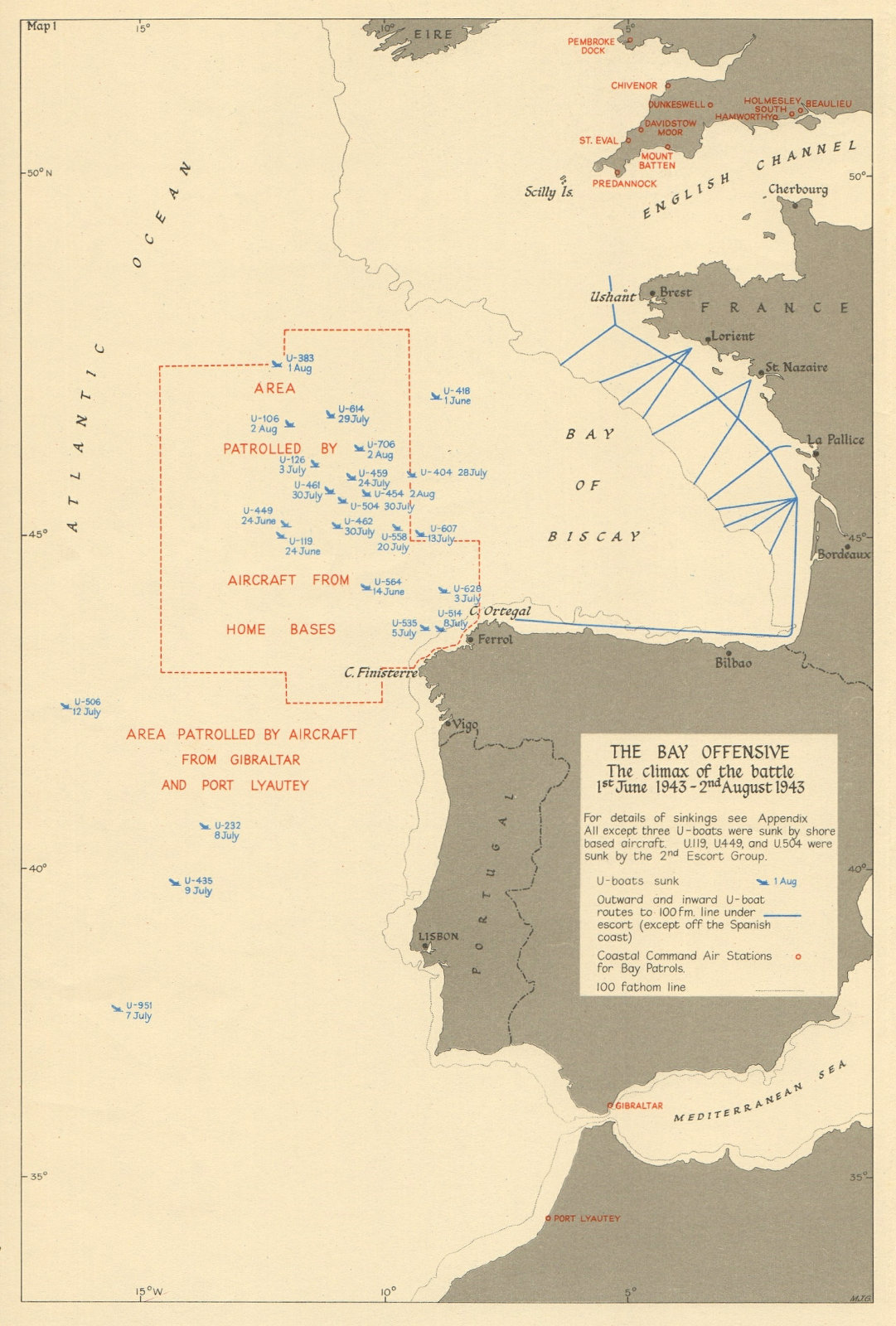 Associate Product Bay of Biscay. U-Boat sinkings. Battle of the Atlantic June-July 1943 1954 map