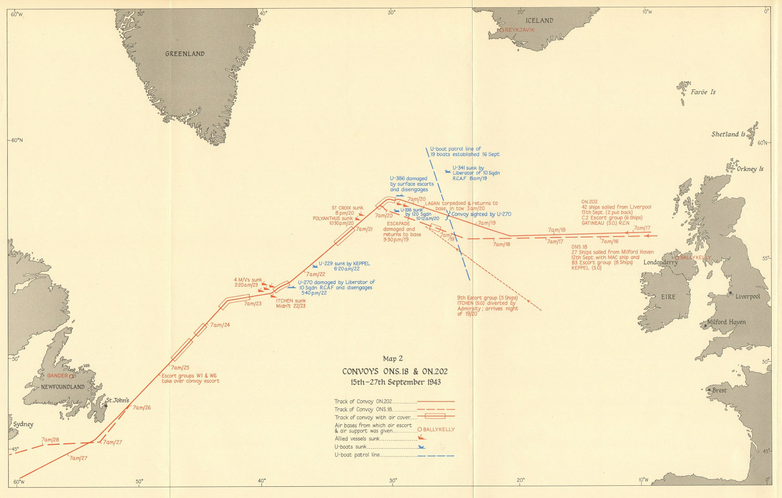 Associate Product Battle of the Atlantic. Convoys ONS 18 & ON 202, 15-27 September 1943 1954 map