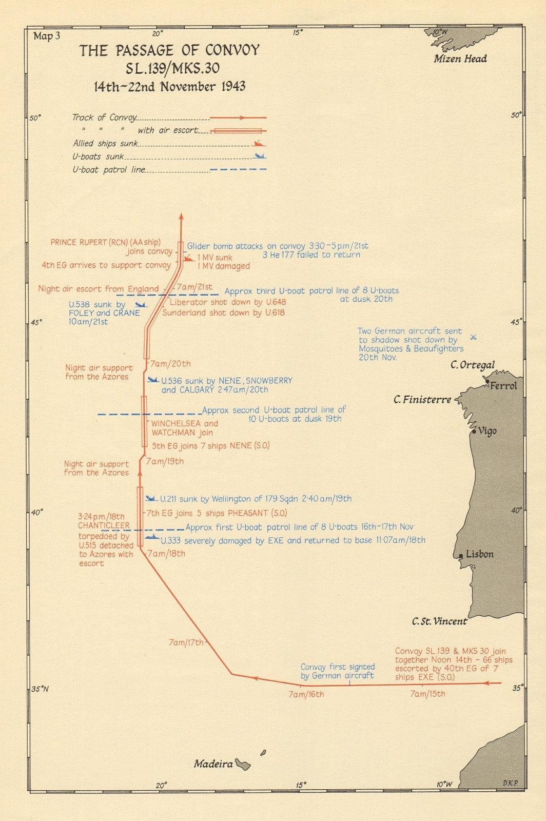 Battle of the Atlantic. Convoy SL 139/MKS 30, 14-22 November 1943 1954 old map