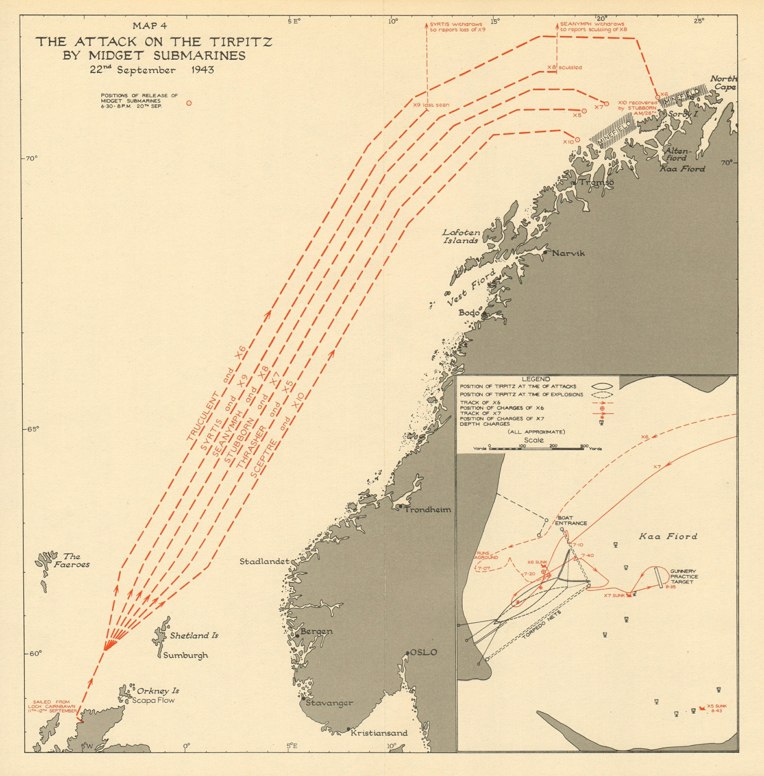 Associate Product Operation Source. Midget Submarines Tirpitz attack. 22 September 1943 1954 map