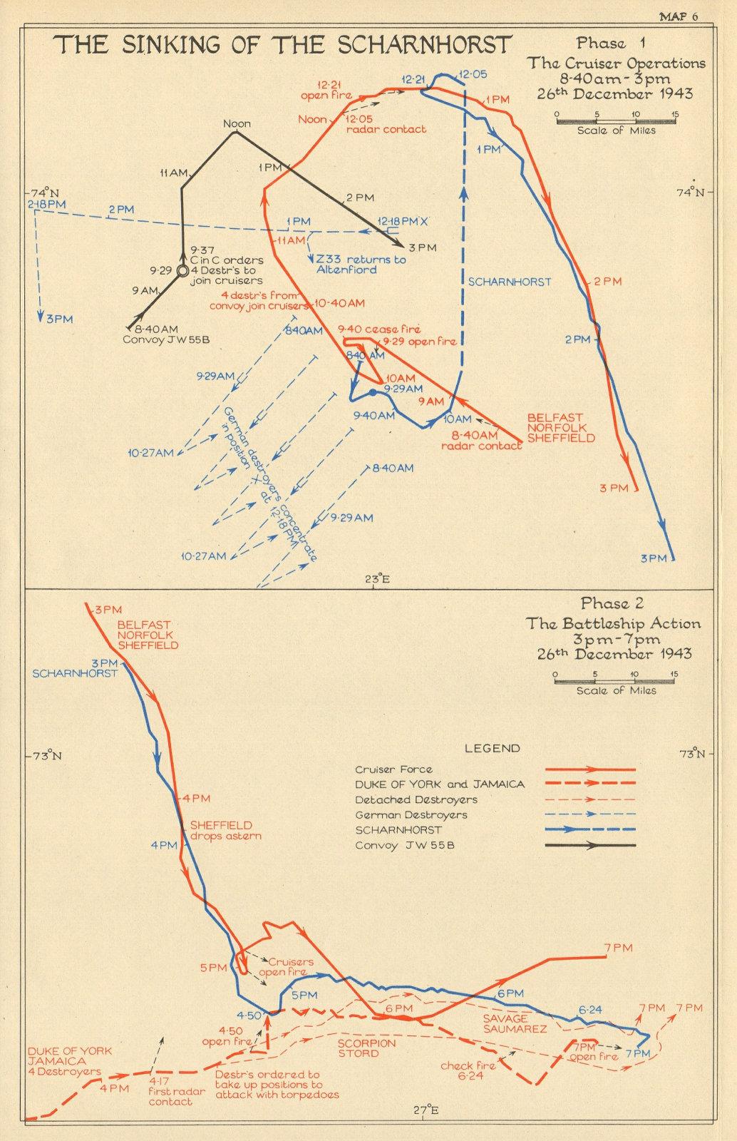 Associate Product Sinking the Scharnhorst. 26 December 1943. Cruisers Battleships 1954 old map
