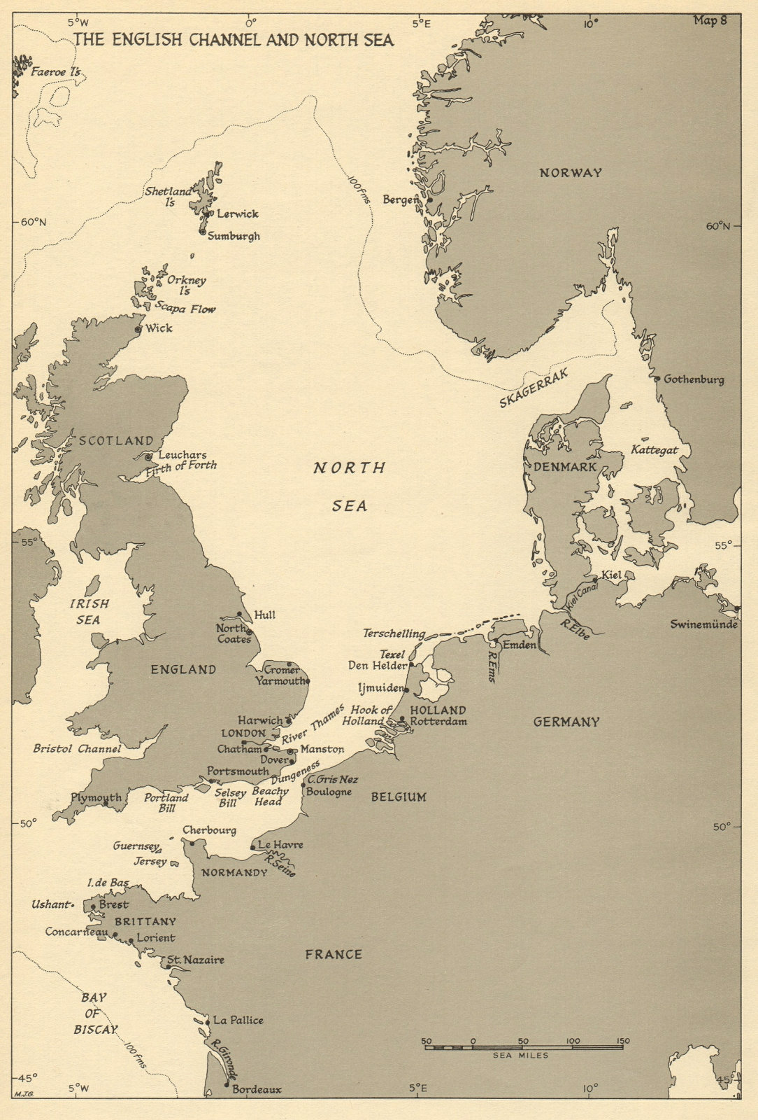 Associate Product English Channel & North Sea ports. 1943 Battle of the Atlantic 1954 old map