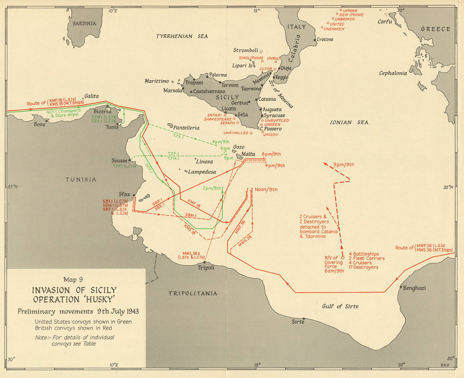 Associate Product Invasion of Sicily. Operation Husky. Initial movements 9 July 1943. WW2 1954 map
