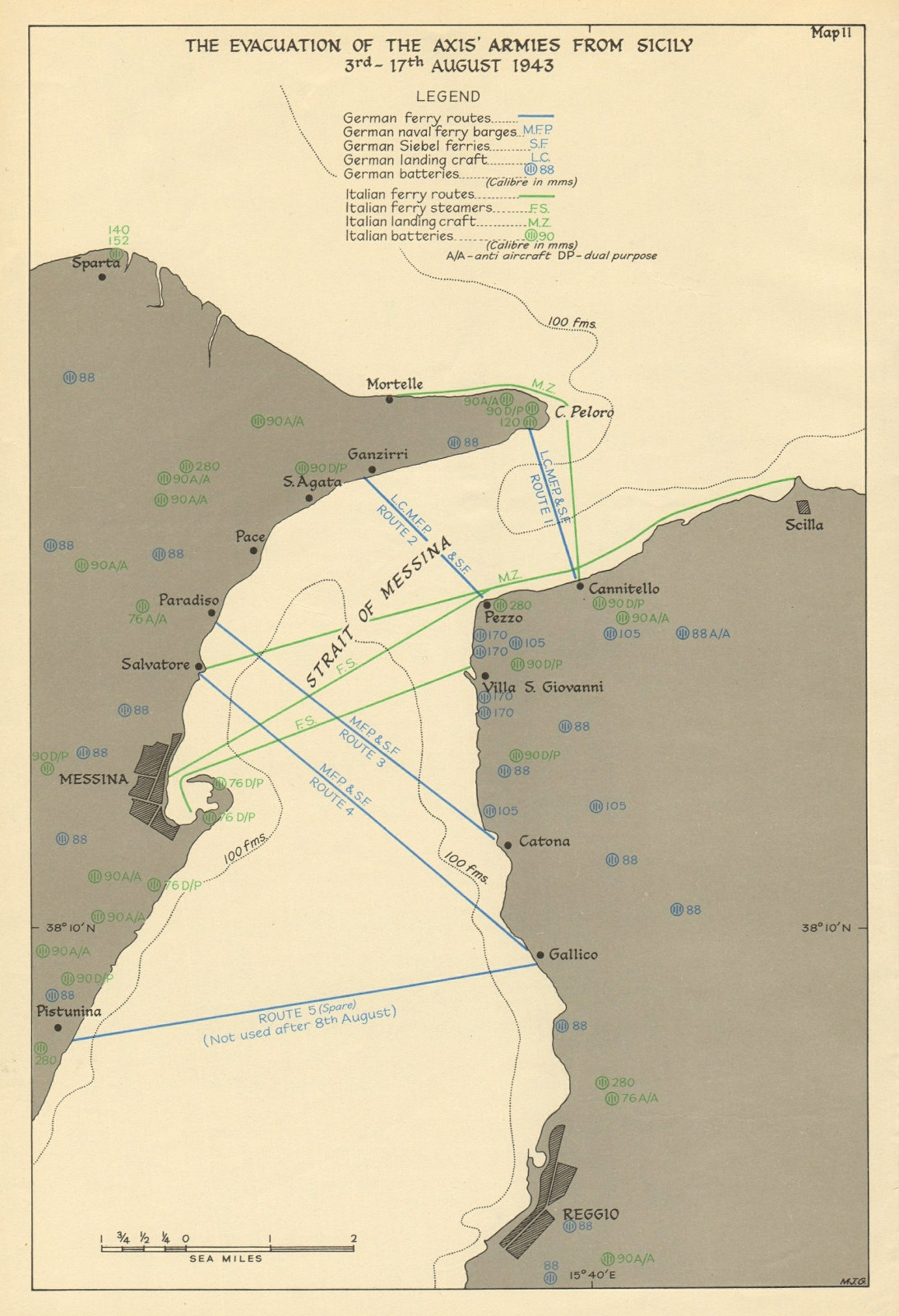 Axis Armies evacuation from Sicily 3-17 August 1943. Strait of Messina 1954 map