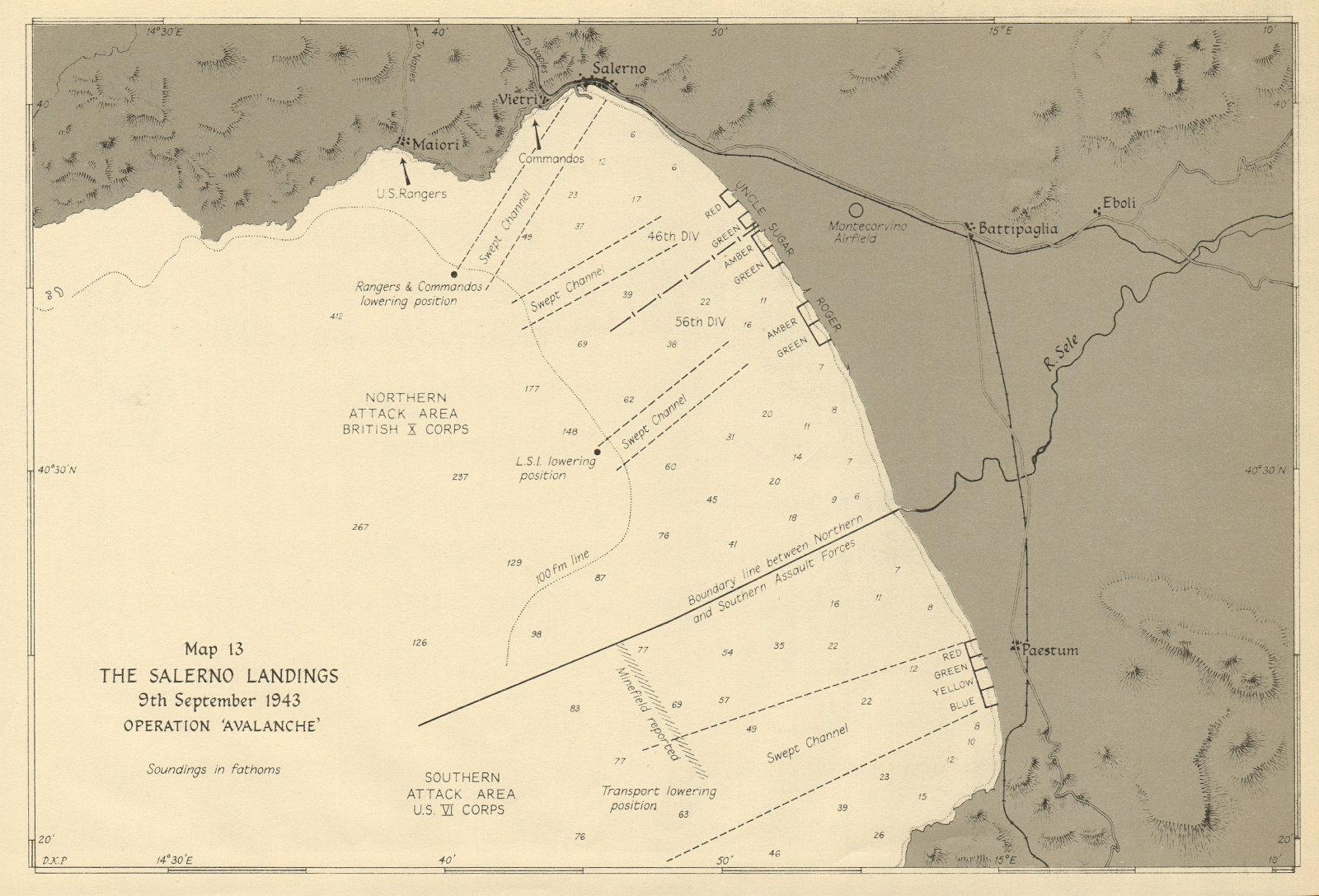 Associate Product Salerno Landings. Operation Avalanche, 9th September 1943. World War 2 1954 map