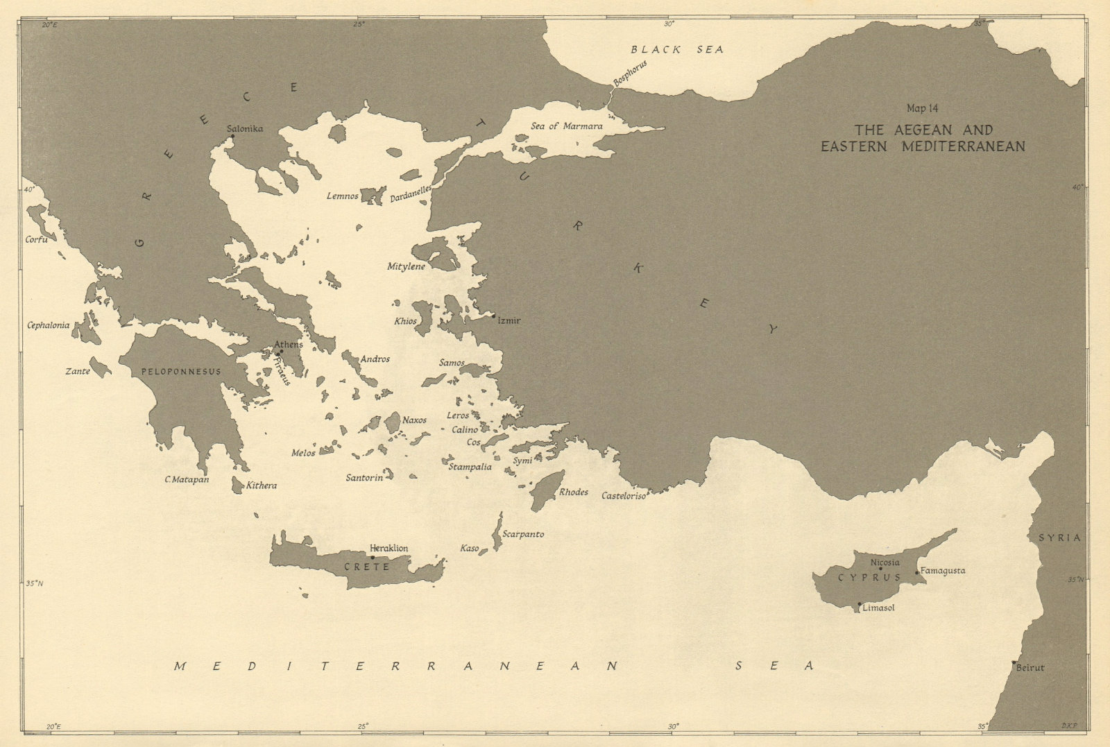 Associate Product Aegean & Eastern Mediterranean 1943. World War 2. Turkey Greece Cyprus 1954 map
