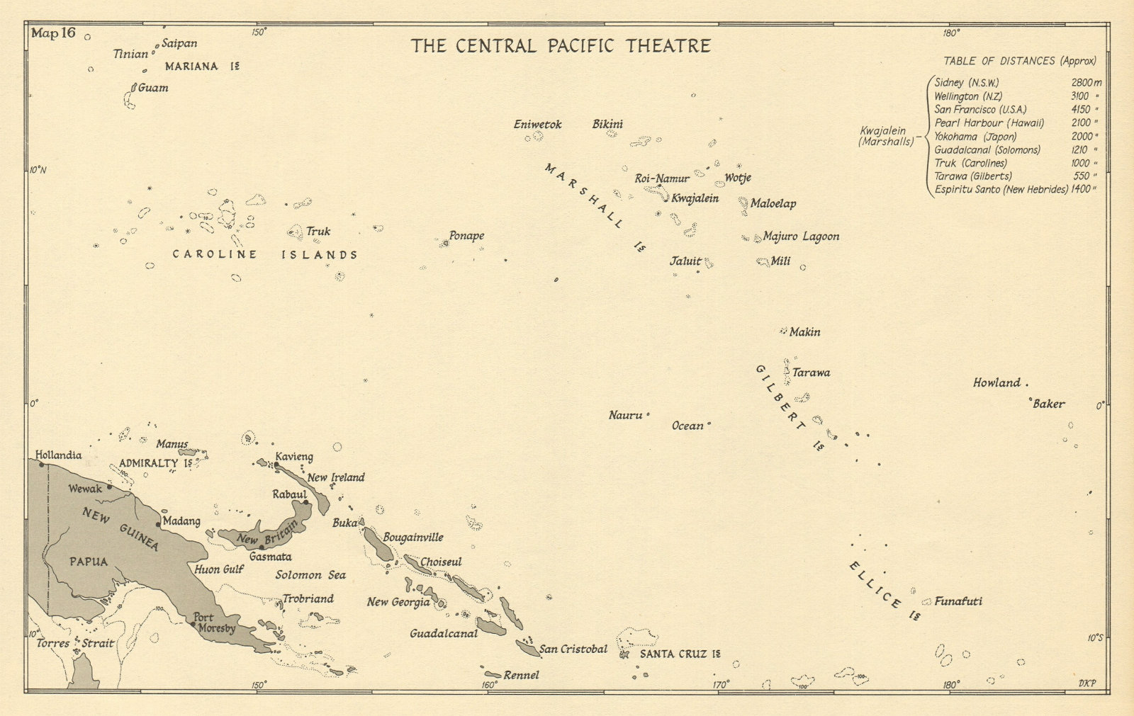 Associate Product Central Pacific Theatre 1943 WW2 Marshall Caroline Mariana islands 1954 map