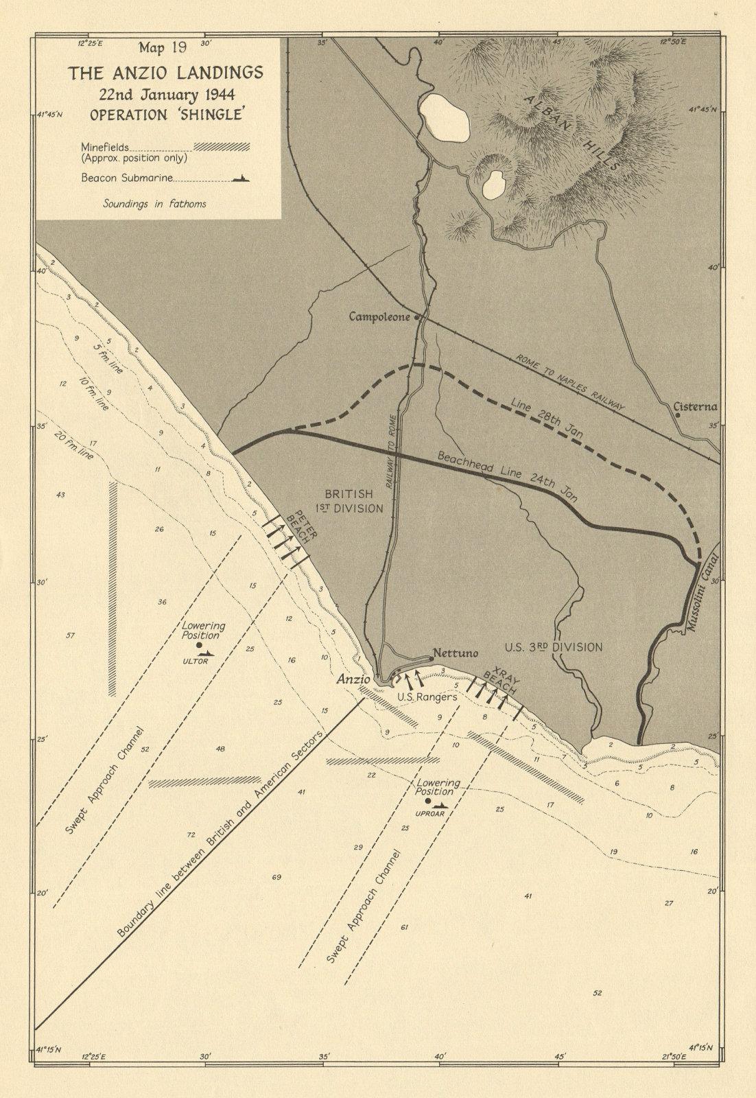 Associate Product Anzio Landings. Operation Shingle, 22nd January 1944. World War 2 1954 old map