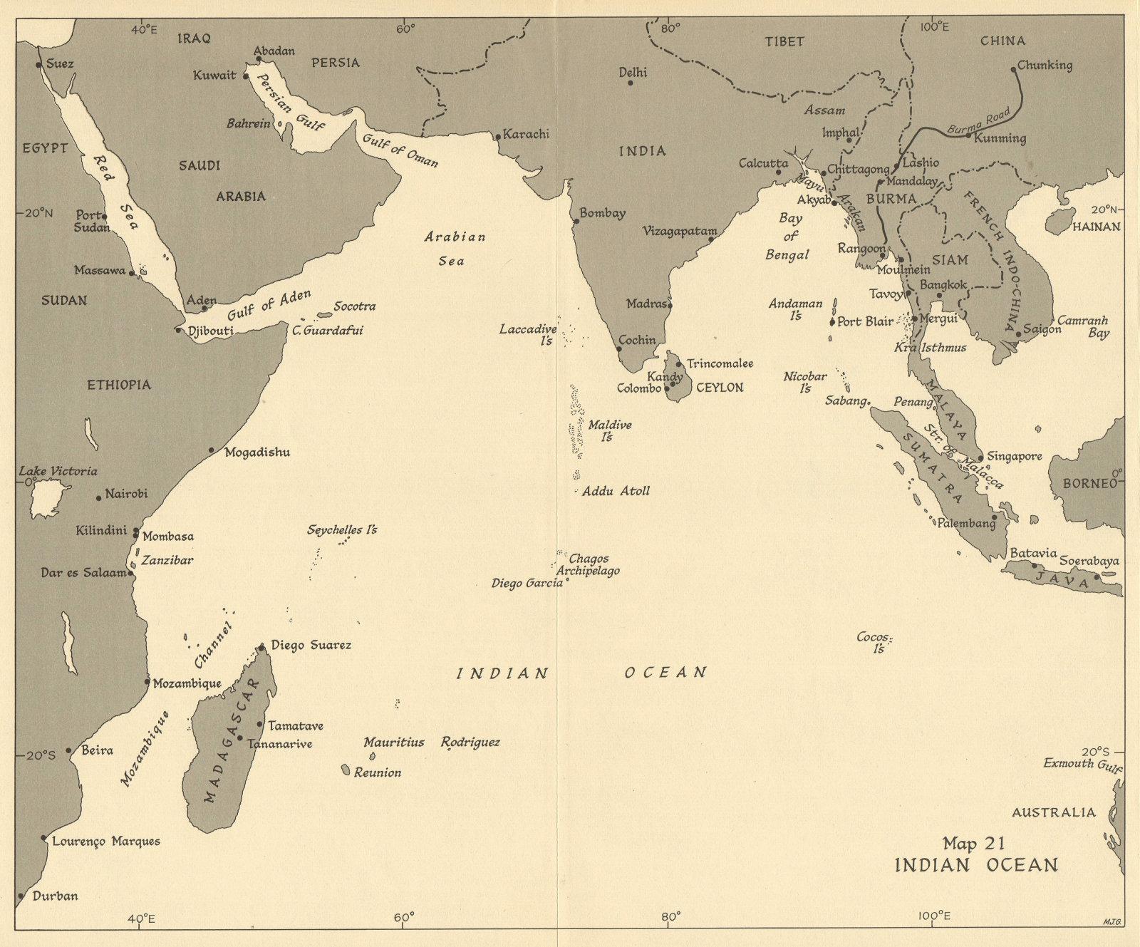 Associate Product Indian Ocean ports 1944. World War 2 1954 old vintage map plan chart