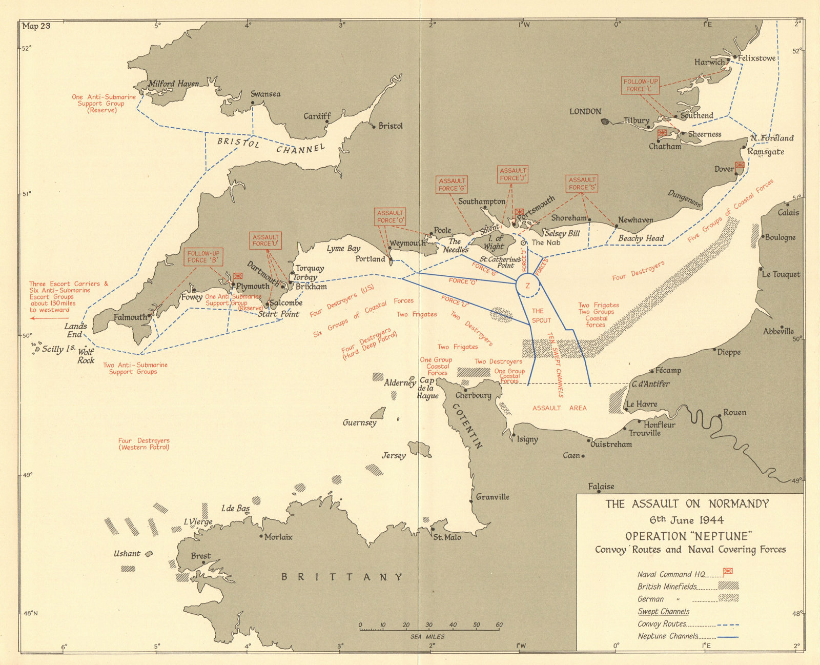 Associate Product D-Day Operation Neptune 6 June 1944 Convoy routes Naval covering forces 1961 map
