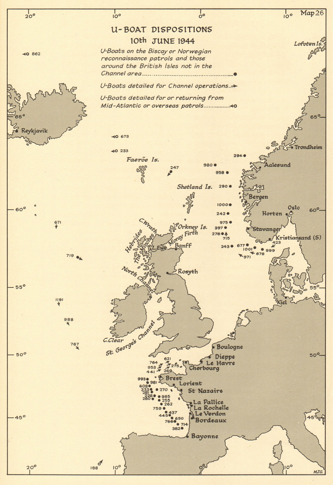 Associate Product U-Boat dispositions 10 June 1944. Atlantic Ocean English Channel Biscay 1961 map
