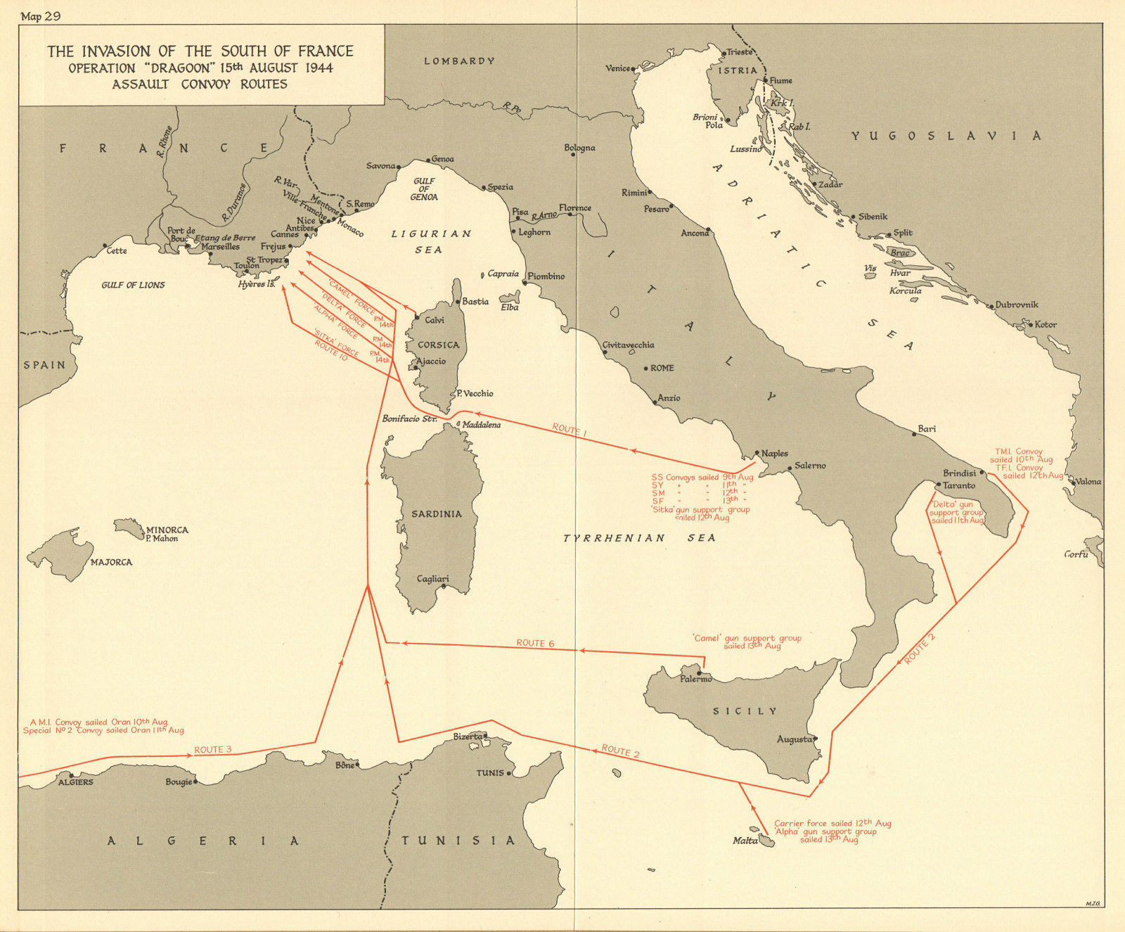 Associate Product Operation Dragoon 15 August 1944. Assault. Invasion of South of France 1961 map