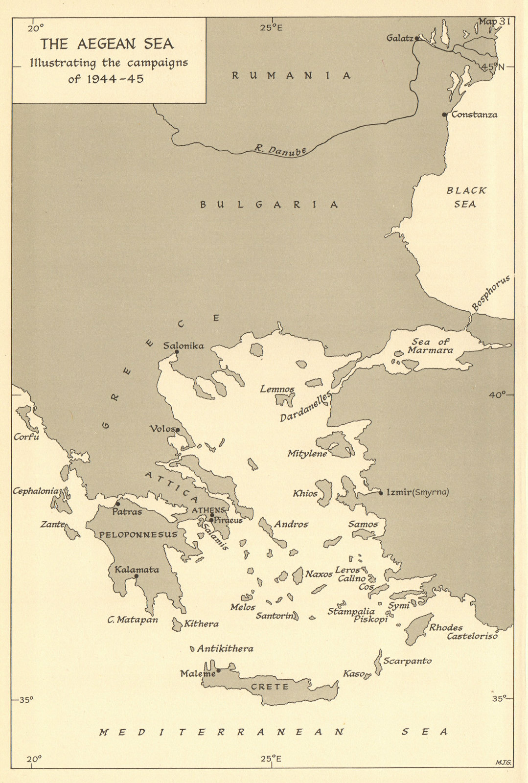 Associate Product Aegean Sea illustrating the naval campaigns of 1944-45. World War 2 1961 map
