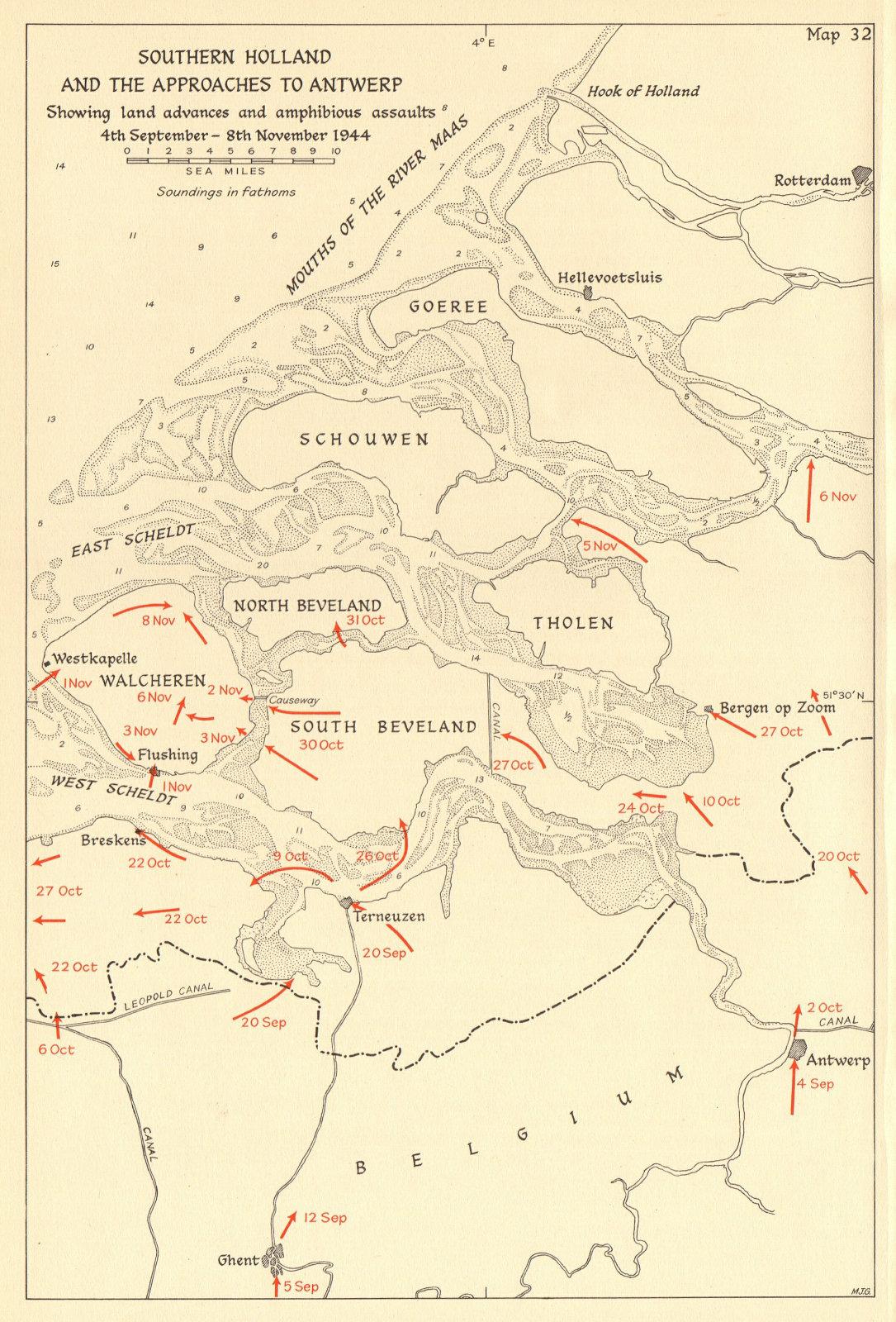 Associate Product Southern Netherlands & Antwerp. Amphibious assaults Sept-Nov 1944. WW2 1961 map