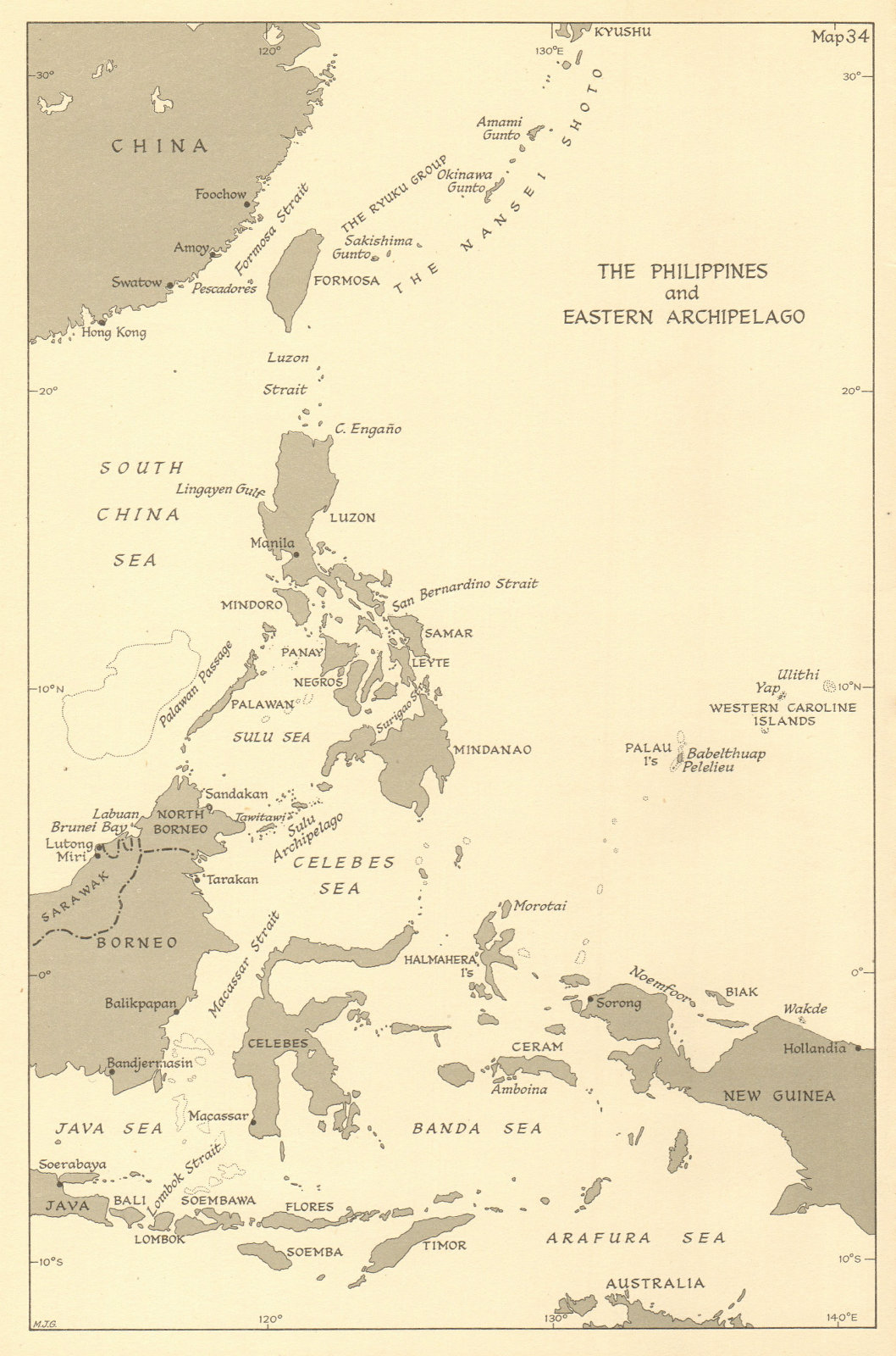 Associate Product Philippines & Eastern Archipelago in 1944. Pacific Theatre. World War 2 1961 map
