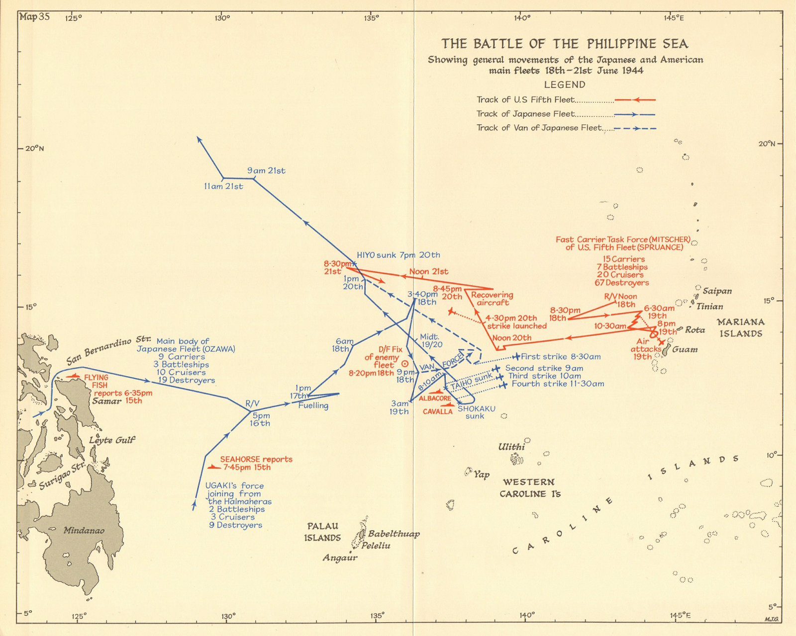 Associate Product Battle of the Philippine Sea 18-21 June 1944. World War 2 Pacific. 1961 map