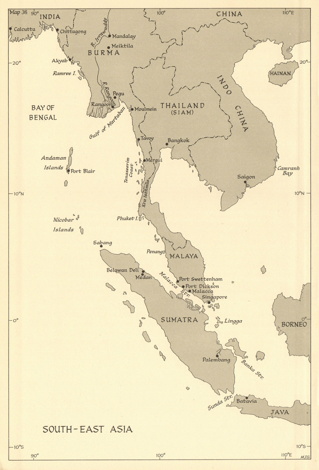 Associate Product South-East Asia. Indochina in 1944. Ports. World War 2 naval campaigns 1961 map