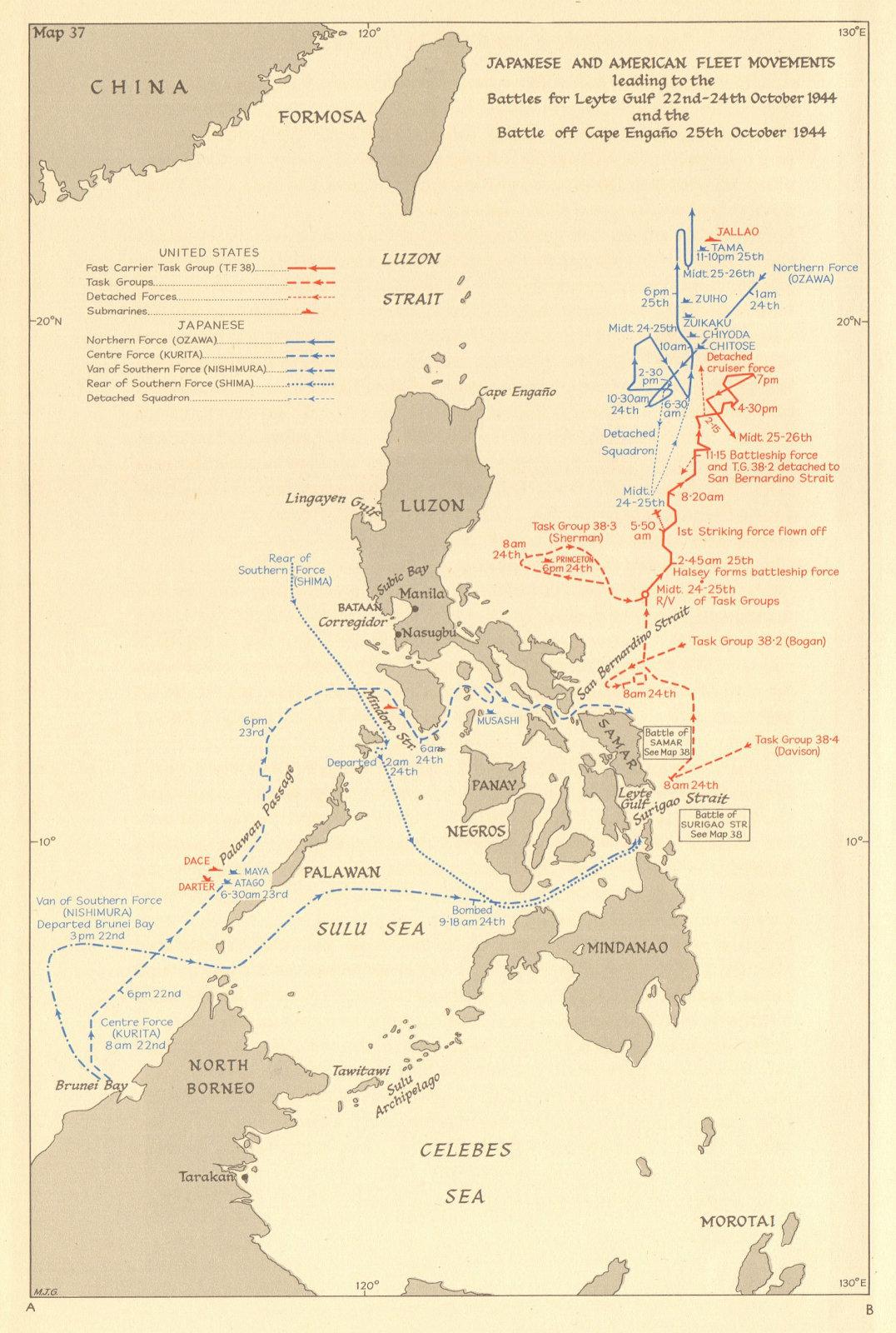 Philippines. Fleet movements. 1944 Battles of Leyte Gulf & Cape Engano 1961 map