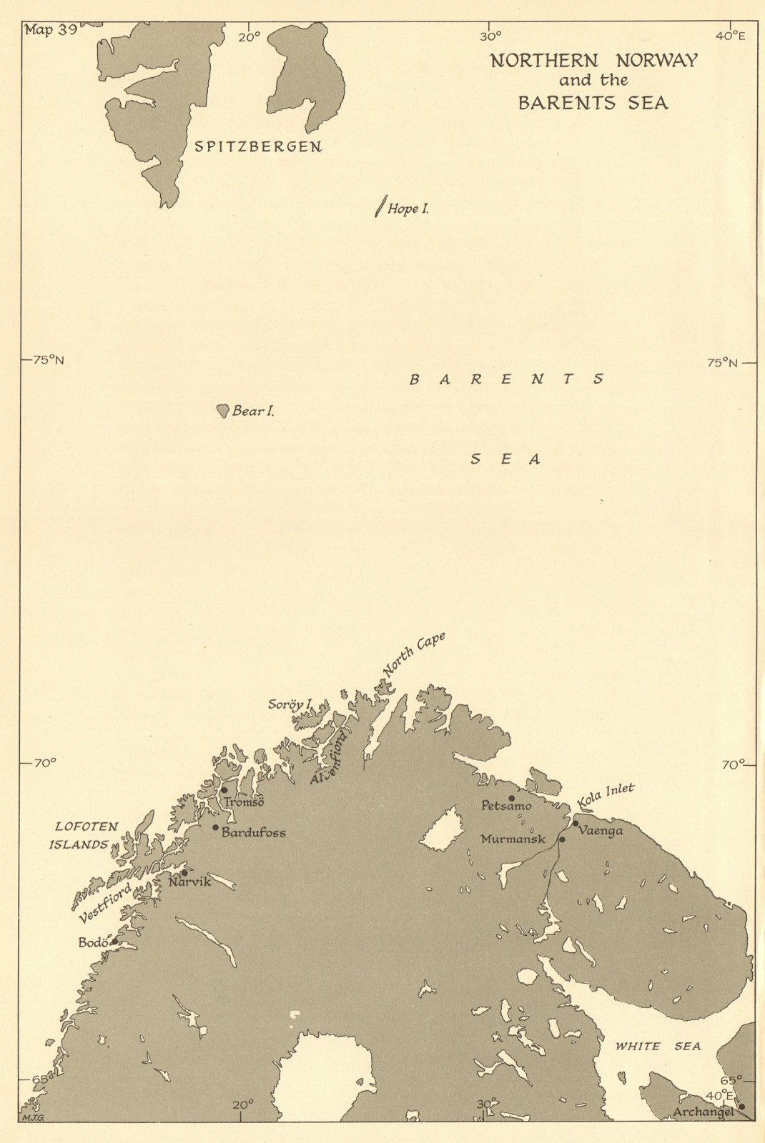 Associate Product Northern Norway & Barents Sea 1944. Arctic convoys. WW2. Spitzbergen 1961 map