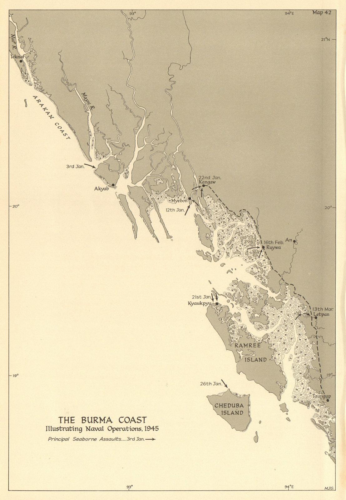 Associate Product Burma Coast naval operations & seaborne landings Jan-March 1945. WW2 1961 map
