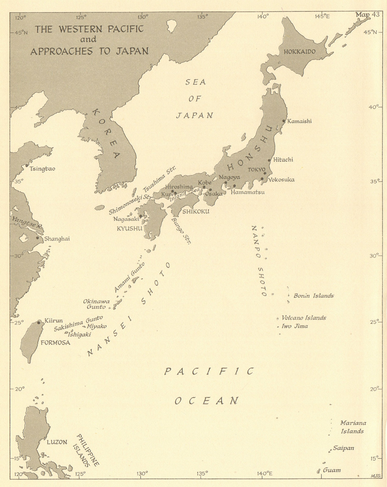 Associate Product Western Pacific & approaches to Japan in 1945. World War 2 naval ops 1961 map