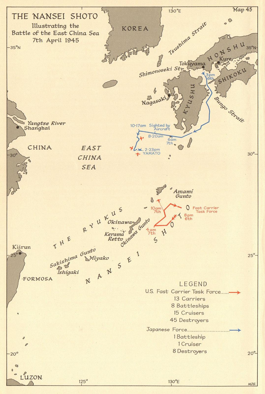 Yamato sinking. Battle of East China Sea 7 April 1945. Operation Ten-Go 1961 map