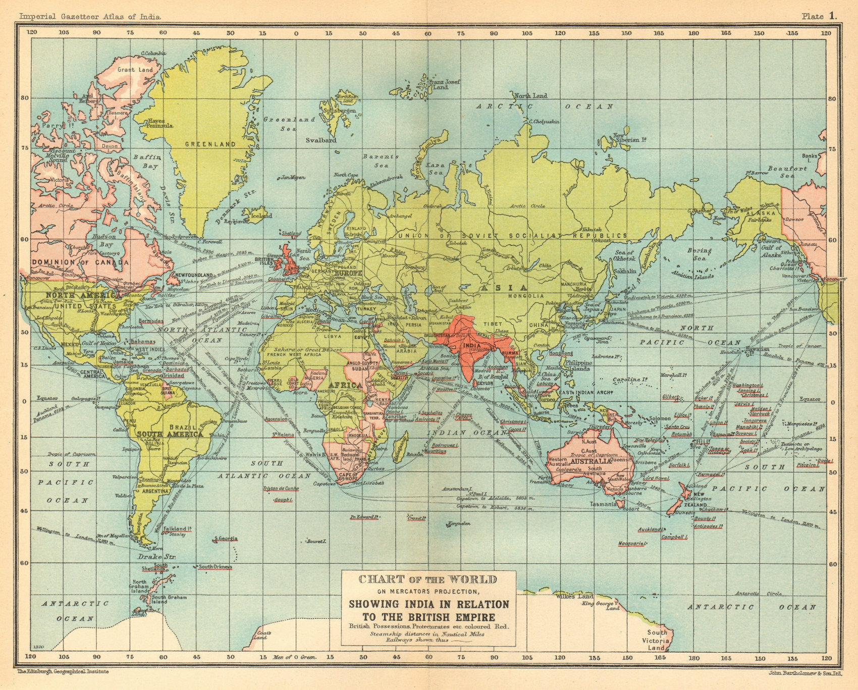 Associate Product World Mercator's on projection. India in relation to the British Empire 1931 map