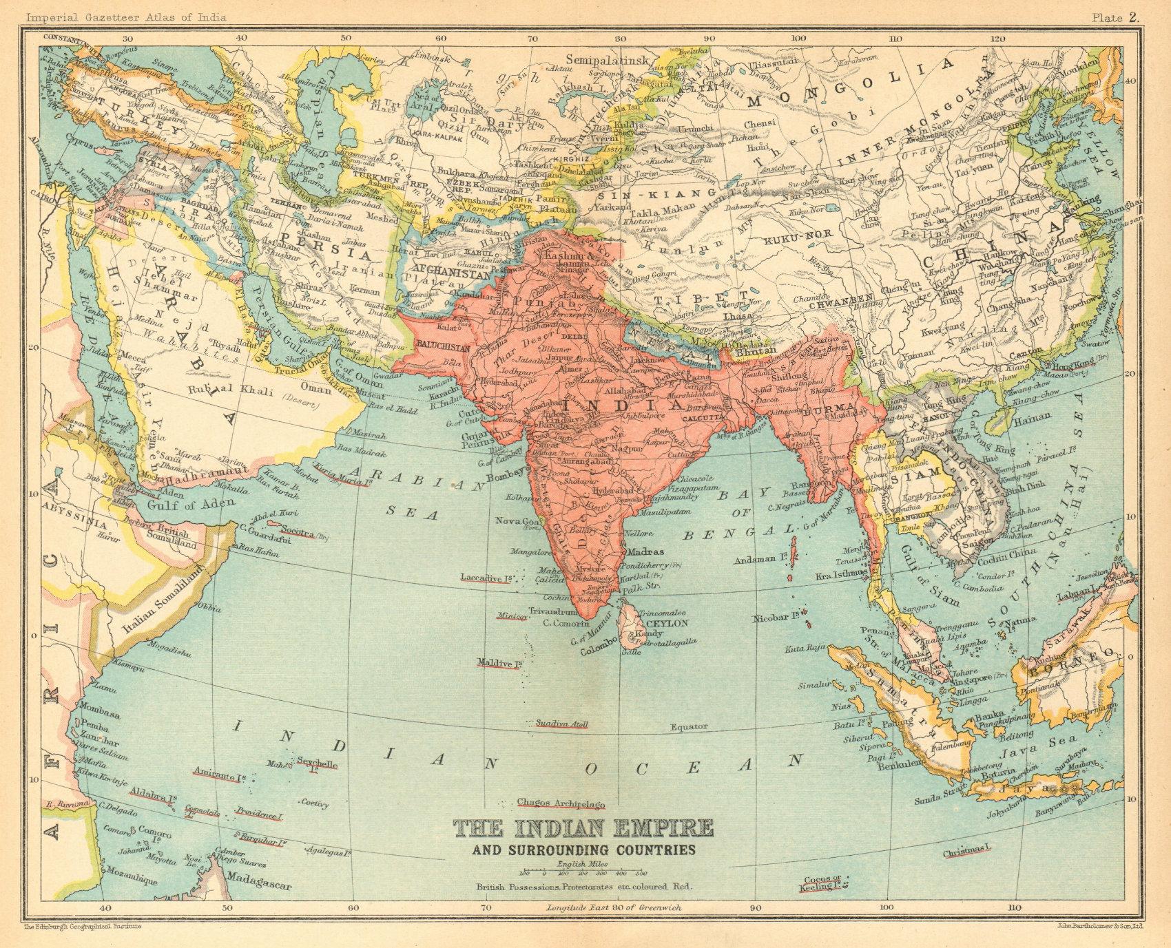 Associate Product South Asia. British India including Burma Pakistan Bangladesh 1931 old map