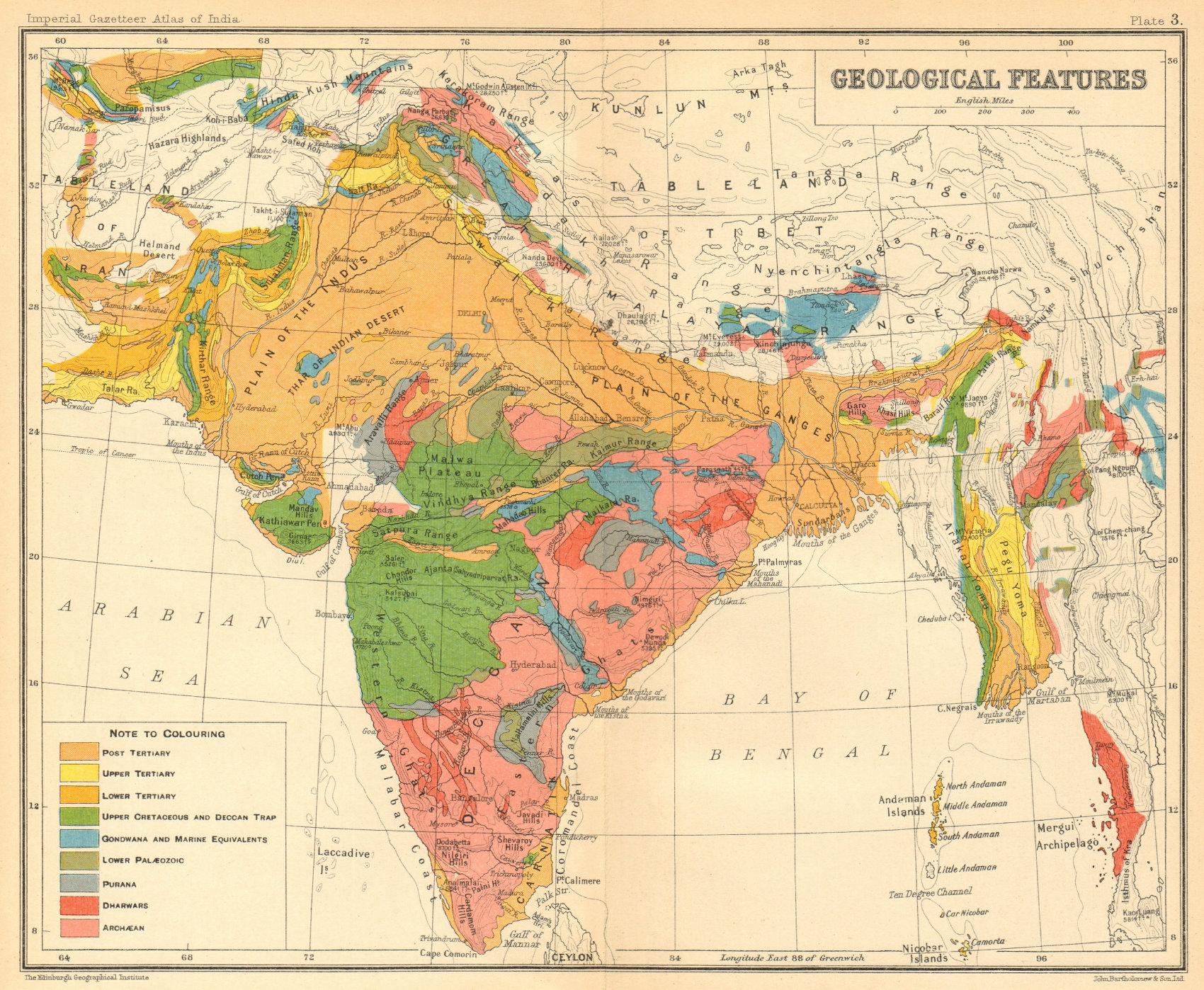 Associate Product BRITISH INDIA GEOLOGICAL MAP. Tertiary Cretaceous Archaean Purana Gondwana 1931