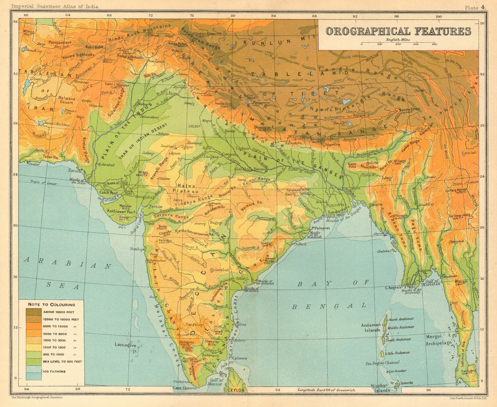 Associate Product SOUTH ASIA RELIEF. India Burma Pakistan Orographical Features 1931 old map