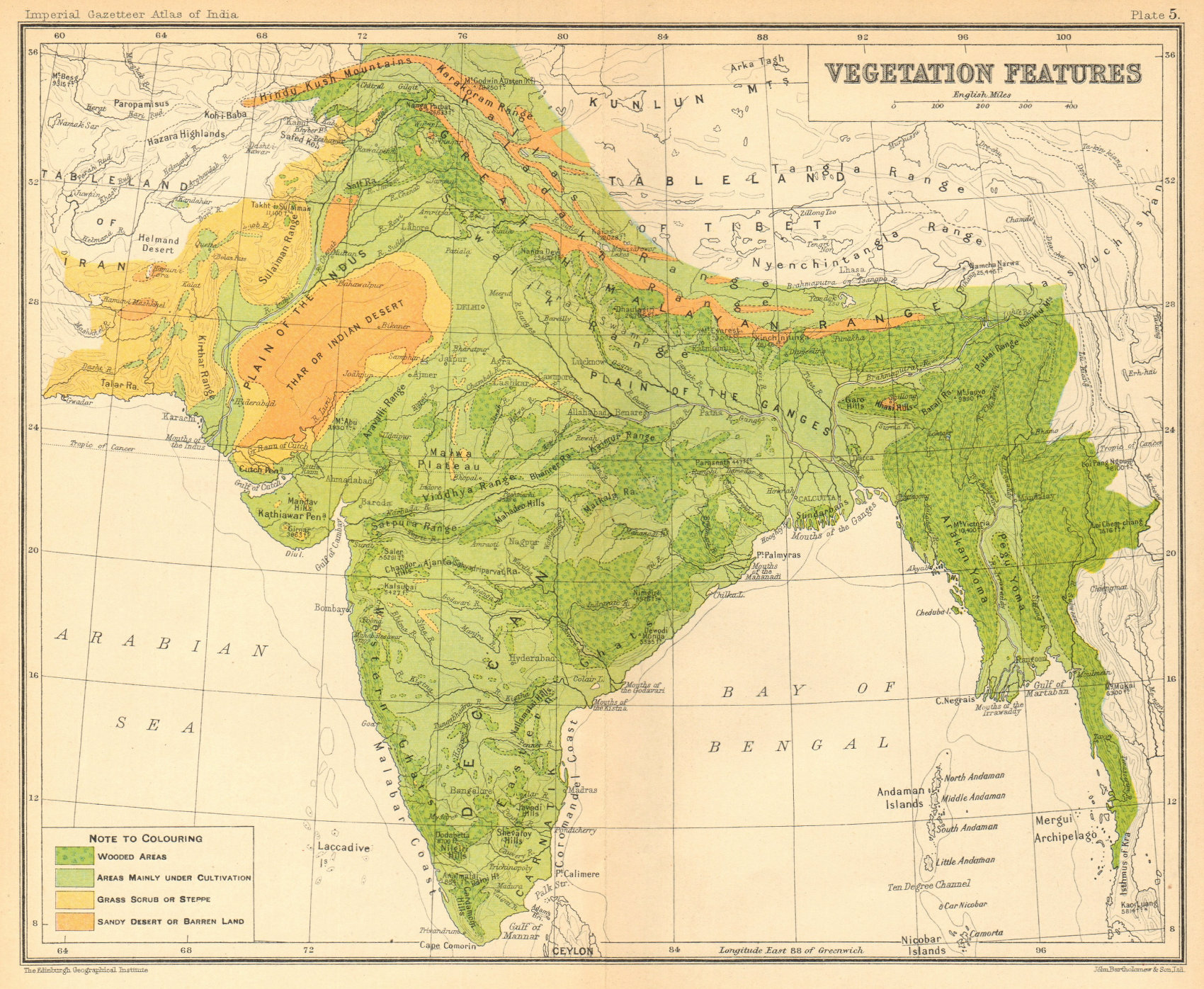 Associate Product SOUTH ASIA. BRITISH INDIA Vegetation forest bush desert cultivated 1931 map