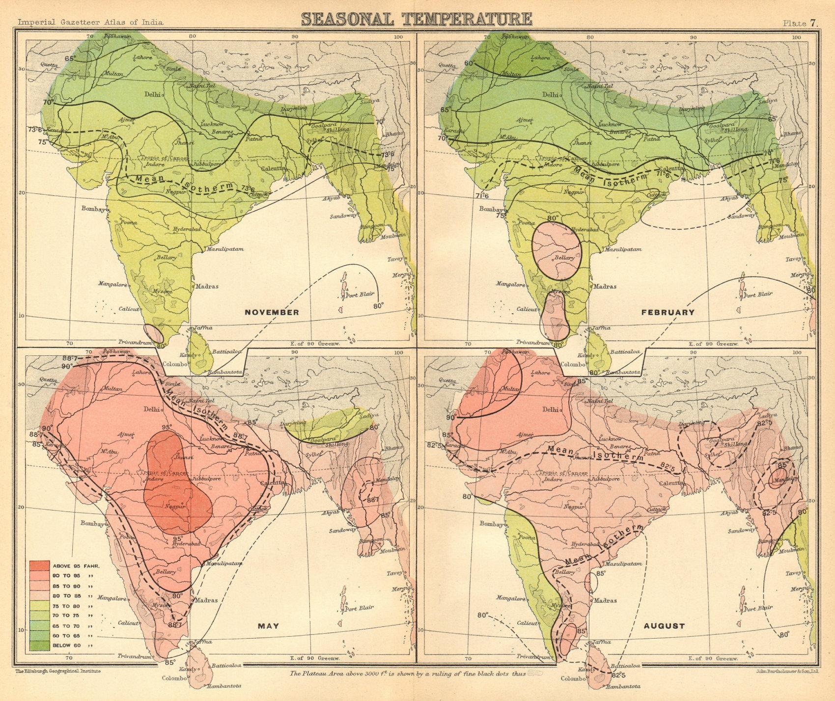 Associate Product SOUTH ASIA. British India & Burma. Seasonal Temperatures 1931 old vintage map