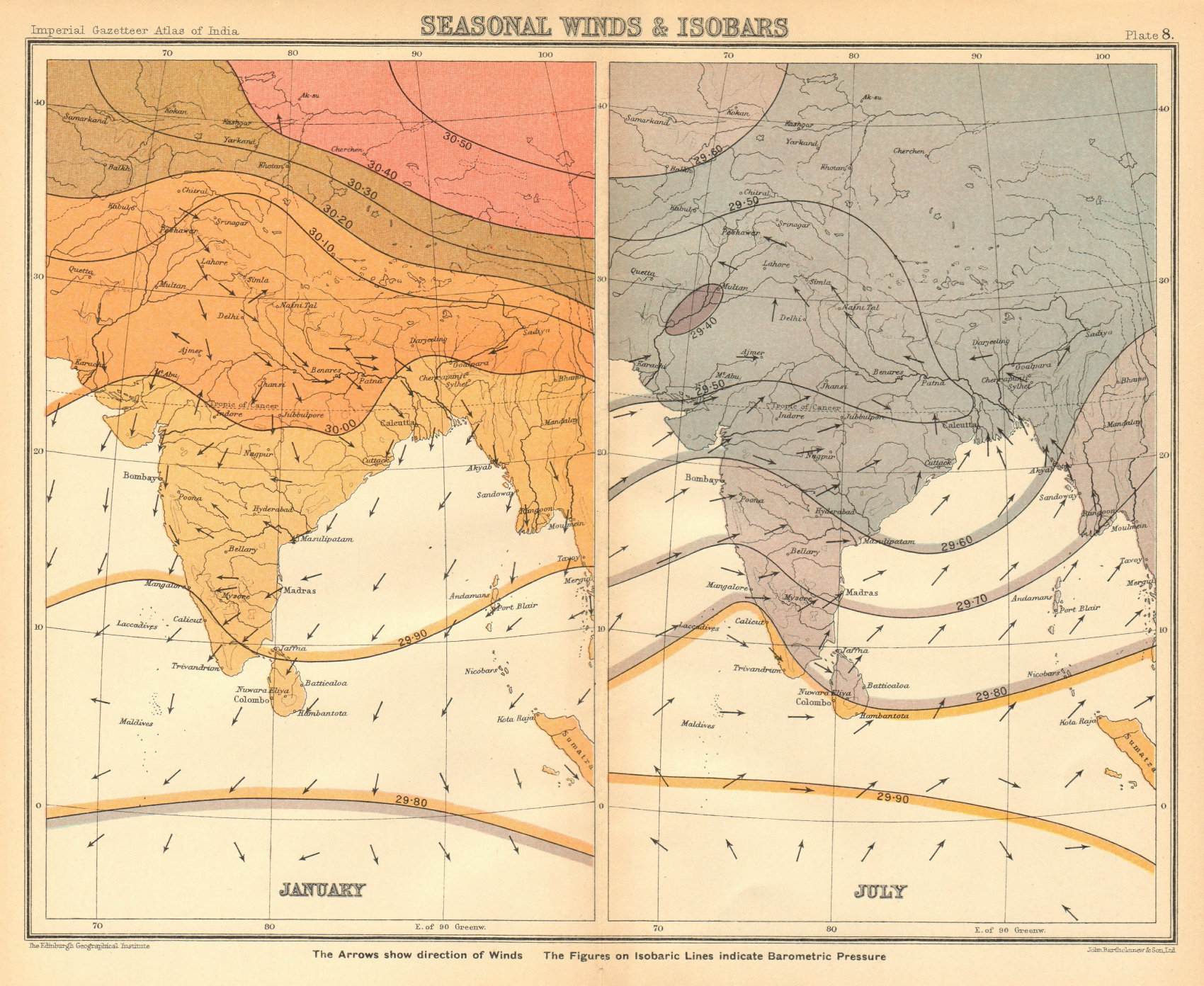 Associate Product SOUTH ASIA. British India. Seasonal Winds and Isobars - January & July 1931 map