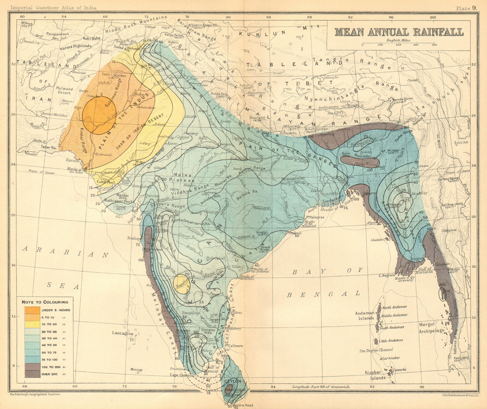 Associate Product SOUTH ASIA. British India & Burma. Mean Annual Rainfall 1931 old vintage map